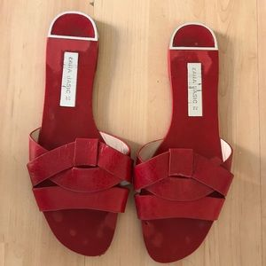 Zara red leather sandal